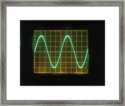 Sine Wave Display On Oscilloscope Screen Framed Print by Dorling Kindersley/uig