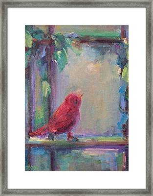Framed Print featuring the painting Sing Little Bird by Mary Wolf