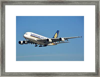 Singapore Airbus A380-841 9v-skn Los Angeles International Airport January 19 2015 Framed Print