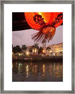 Singapore Boat Quay Framed Print by Jack Edson Adams