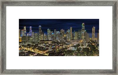 Singapore Central Business District Skyline And Chinatown At Dus Framed Print by David Gn