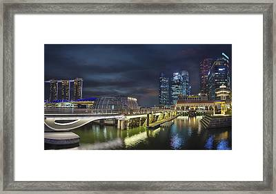 Singapore City By The Fullerton Pavilion At Night Framed Print by David Gn
