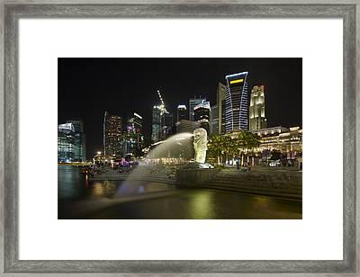 Singapore City Skyline At Merlion Park Framed Print by David Gn