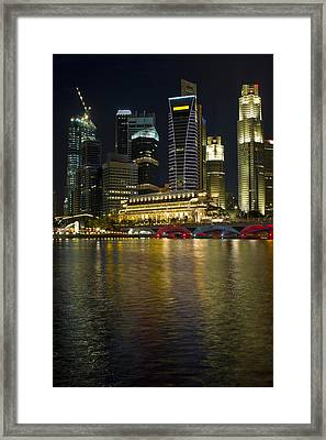 Singapore City Skyline At Night Framed Print by David Gn