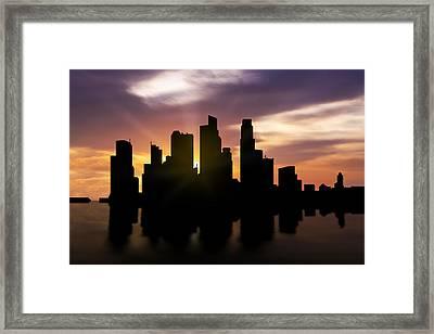 Singapore City Sunset Skyline  Framed Print by Aged Pixel