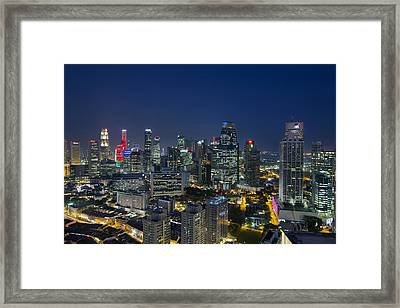 Singapore Cityscape At Blue Hour Framed Print by David Gn