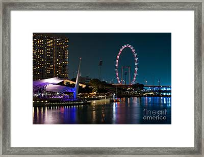 Singapore Flyer At Night Framed Print by Rick Piper Photography