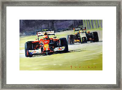 2014 Singapore Gp Raikkonen Scuderia Ferrari F14 T Perez Sahara Force India F1  Framed Print by Yuriy Shevchuk