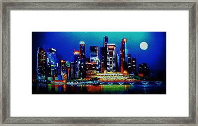 Singapore In Black Light Sold Framed Print