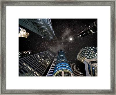 Singapore Moon Sky Framed Print