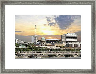 Singapore Parliament Building And Supreme Law Court  Framed Print by David Gn