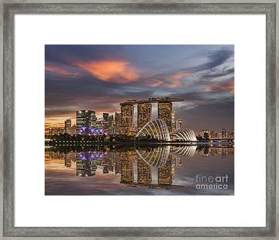 Singapore Skyline Beautiful Sunset Framed Print