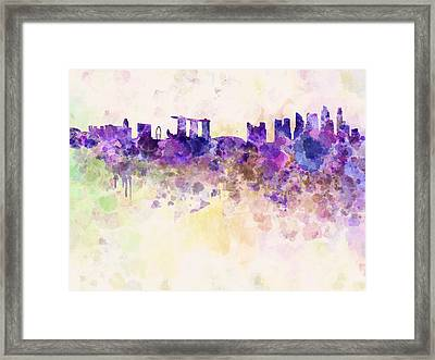 Singapore Skyline In Watercolour Background Framed Print by Pablo Romero