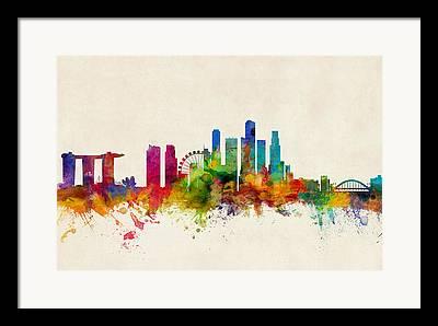 Singapore Digital Art Framed Prints