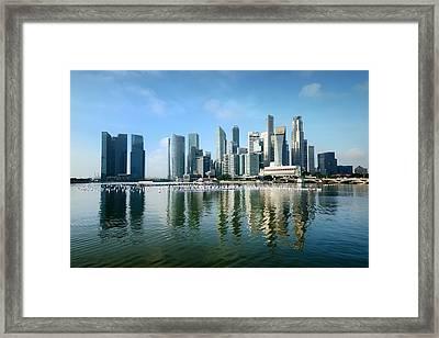 Singapore Skyline On A Blue Sunny Day Framed Print by Carlina Teteris