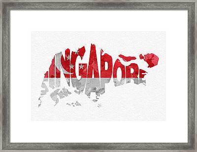 Singapore Typographic Map Flag Framed Print