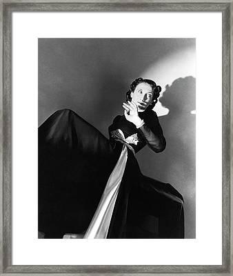Singer Greta Keller Wearing A Black Dress Framed Print
