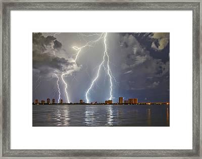 Singer Island Lightning Framed Print