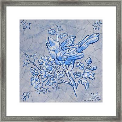 Singing Bird Delft Blue Framed Print by Raymond Van den Berg