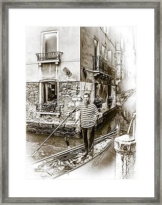 Singing Gondolier Framed Print by Julie Palencia
