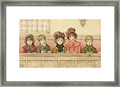 Singing In Church Framed Print by Kate Greenaway
