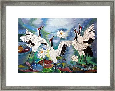 Singing In The Rain Hand Embroidery Framed Print by To-Tam Gerwe