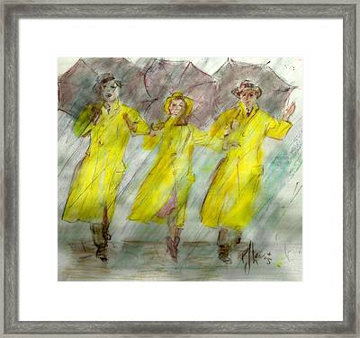 Singing In The Rain Framed Print by P J Lewis
