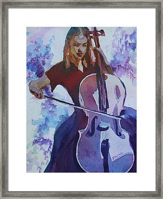 Singing The Cello Framed Print by Jenny Armitage