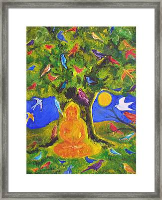 Buddha And The Birds Framed Print