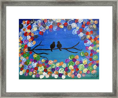 Singing To The Stars Tree Bird Art Painting Print Framed Print by Ella Kaye Dickey