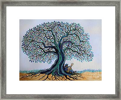 Singing Under The Blues Tree Framed Print