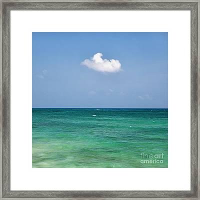 Single Cloud Over The Caribbean Framed Print