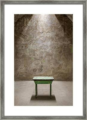 Green Table Framed Print by Maureen Fahey