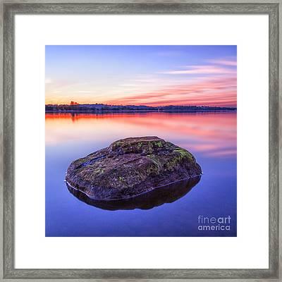 Single Rock In The Loch Framed Print by John Farnan