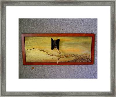 Single Vulture At Dusk Framed Print