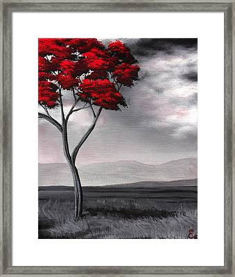 Singled Out Red Framed Print by Erin Scott