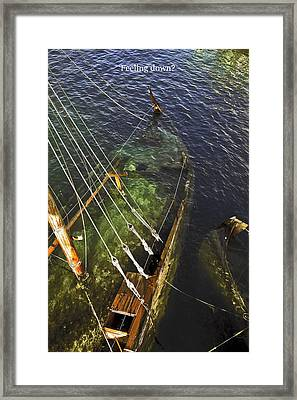 Sinking Sailboat Framed Print by Sally Weigand