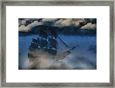 Sinking Sailer Framed Print by Ayse and Deniz