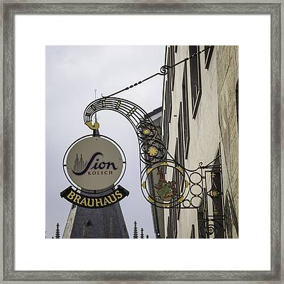 Sion Kolsch Brauhaus Sign Cologne Germany Framed Print by Teresa Mucha