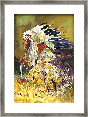 Sioux Chief Framed Print by Charles Russell