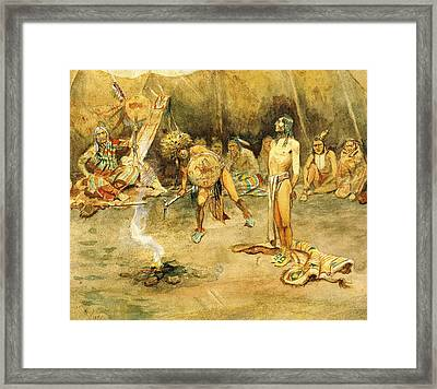 Sioux Torturing A Blackfoot Brave Framed Print by Charles Russell