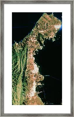 Sir-c Image Of San Francisco & Oakland Framed Print by Nasa/science Photo Library