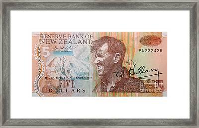 Sir Edmund Hillary Signed Banknote Framed Print