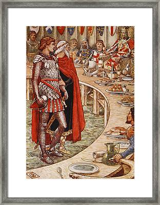 Sir Galahad Is Brought To The Court Of King Arthur Framed Print by Walter Crane
