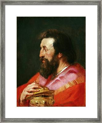 Sir Peter Paul Rubens And Studio, Head Of One Of The Three Framed Print by Quint Lox