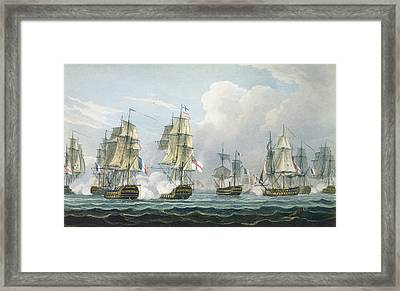 Sir Richard Strachans Action After The Battle Of Trafalgar Framed Print by Thomas Whitcombe