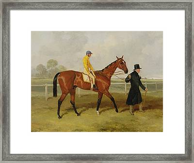Sir Tatton Sykes Leading In The Horse Sir Tatton Sykes With William Scott Up Framed Print by Harry Hall