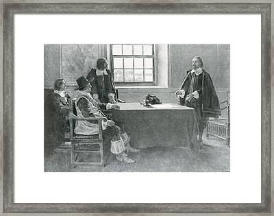 Sir William Berkeley Surrendering To The Commissioners Of The Commonwealth, Illustration From In Framed Print
