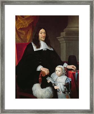 Sir William Davidson Of Curriehill 161516-89 With His Son, 1664 Framed Print by Simon Luttichuys