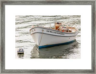 Sir William Pepperrell Boat In Maine Framed Print by Laura Duhaime